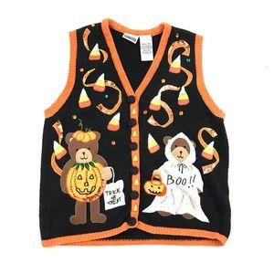 Vintage Ugly Halloween Sweater Vest Sequin Kitsch